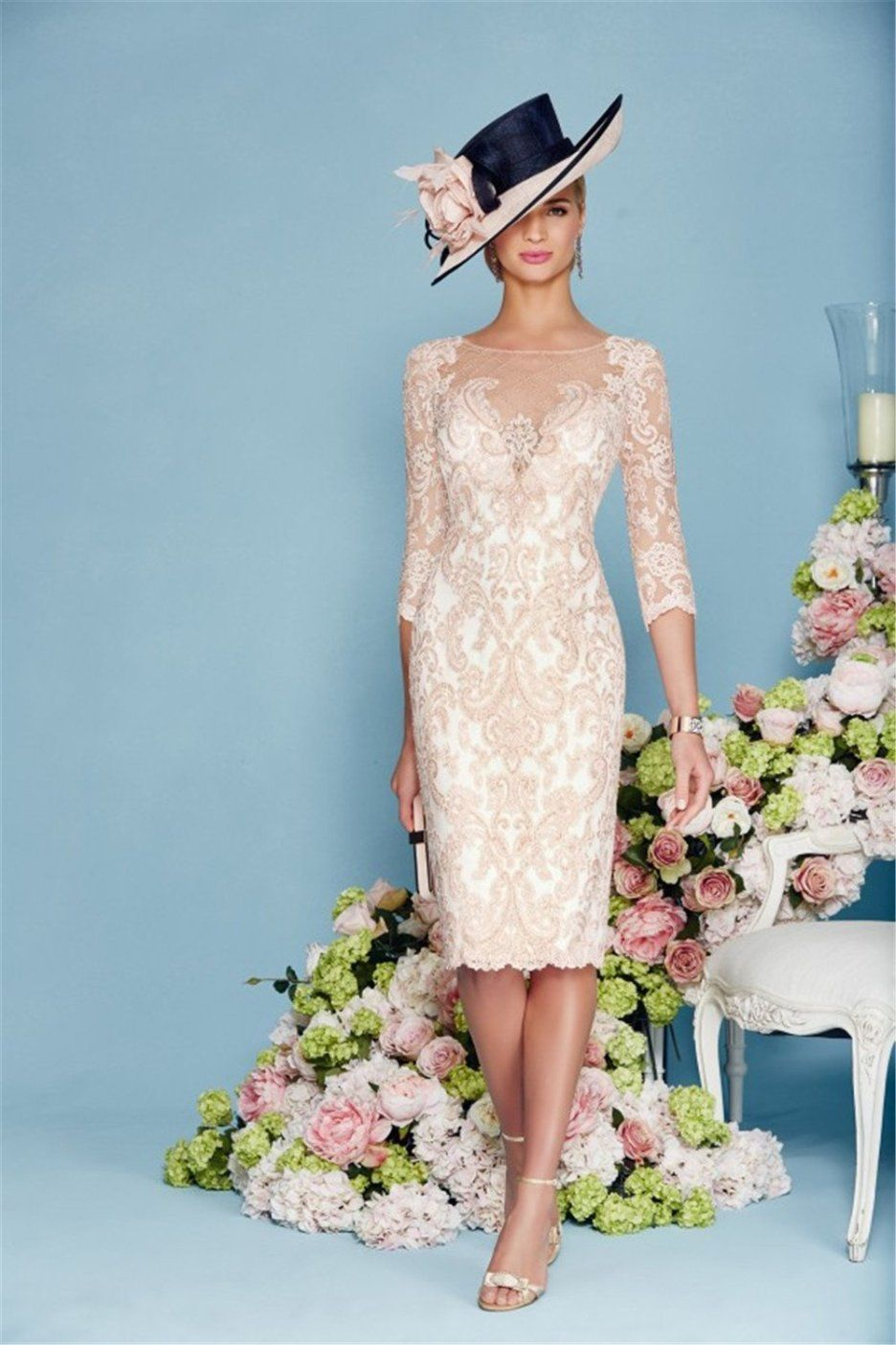 Light Pink Chiffon Lace Mother of the Bride Dress | Light pink color ...