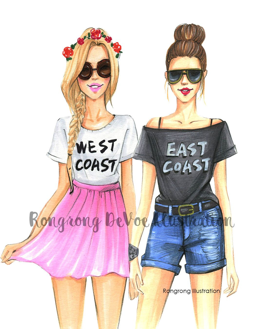 Gift Idea Various Sizes Girly Girls Shopping Fashion Illustration Print