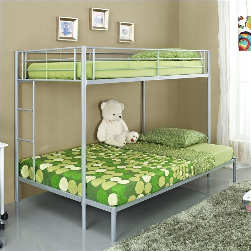 Walker Edison Twin Over Double Bunk Bed in Silver