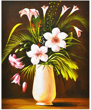 Diy 5d Acrylic Diamond Painting Romantic Lily Flower Vase
