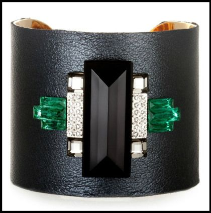 Sandy Hyun Black Leather Cuff. Via Diamonds in the Library's jewelry gift guide.