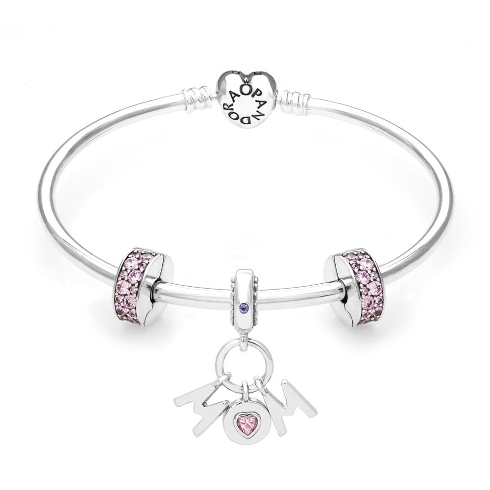 dfc533fa437 Cheap Sale Mother's Day Gift Pandora Bangle Silver/14Ct Rose Gold/CZ Nk5713 Factory  Outlet Store Locations