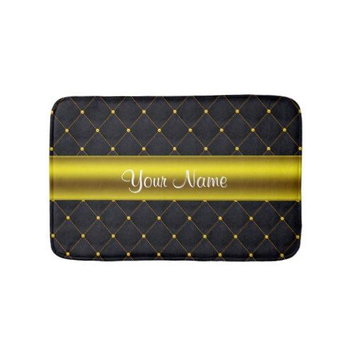 Classy Quilted Black And Gold Personalized Bath Mat Zazzle Com Black Gold Bathroom Gold Bathroom Bath Mat
