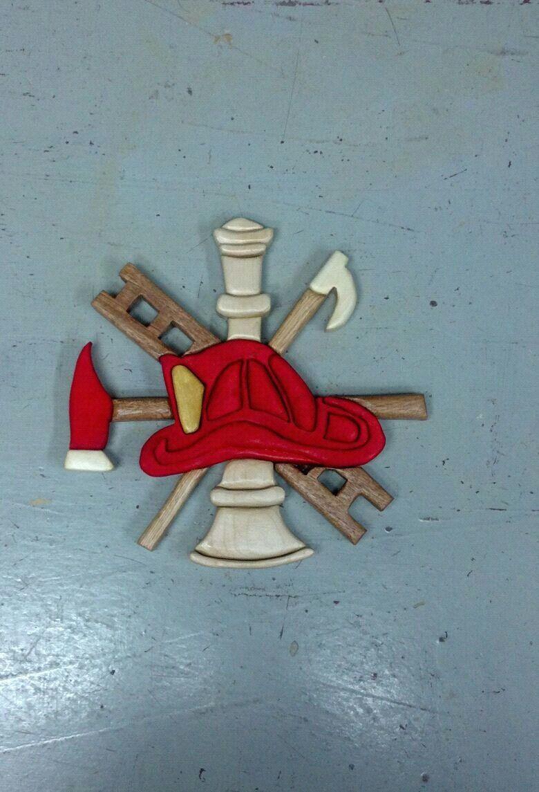 Scrabble wood intarsia Firefighter Scramble