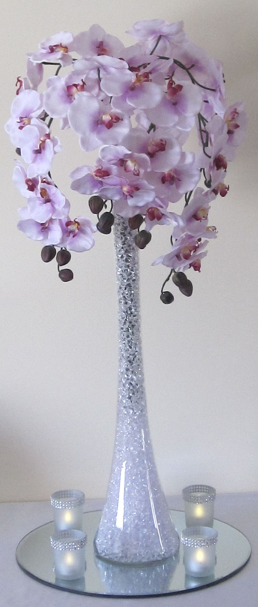 Centrepiece With Lilac Trailing Orchids Available To Hire West