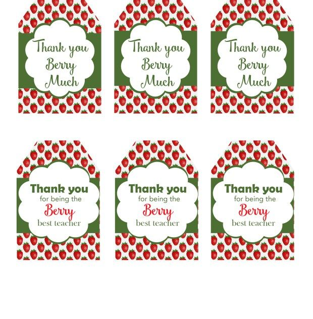 picture about Teacher Appreciation Tags Printable referred to as Berry Thank Oneself Reward Tag Totally free Printable Trainer reward