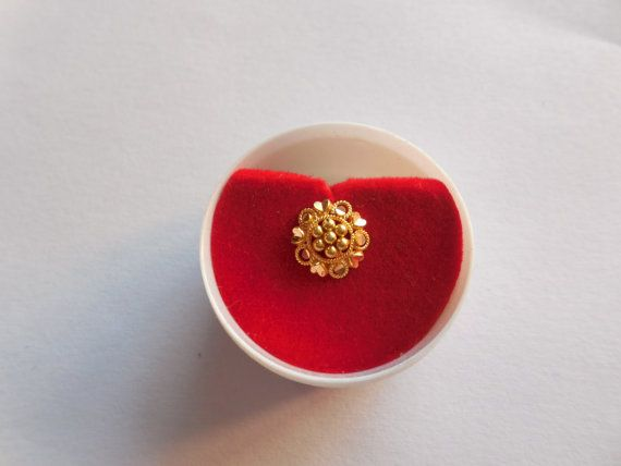 Gold plated diamond Indian nose stud  with red stone