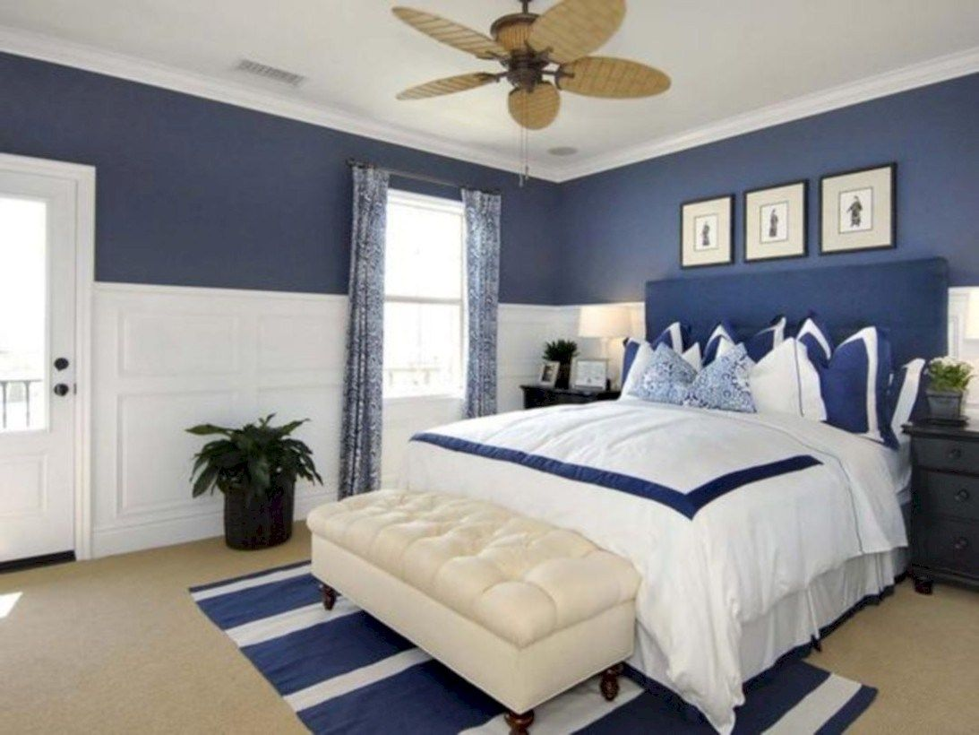 Cool Blue And White Bedroom Design Ideas 09