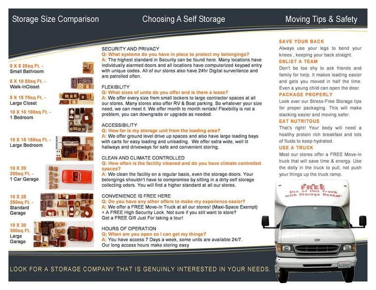 Self Storage Moving And Packing Brochure Printable Pdf Self Storage Moving Tips Self Storage Units