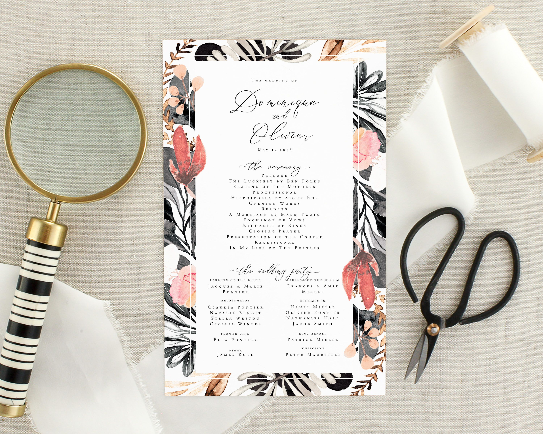 Watercolor Wedding Ceremony Program Floral Wedding Program Printed