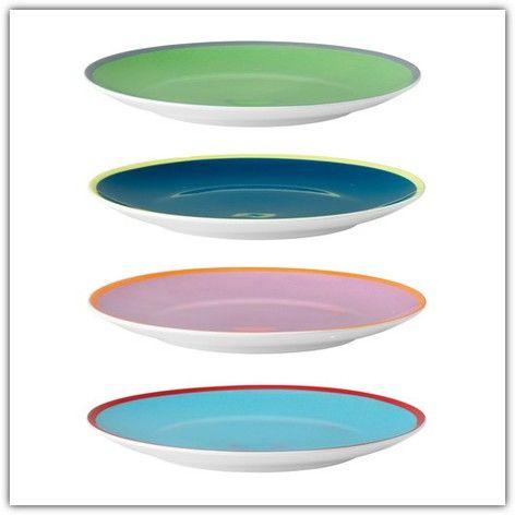 Set of 4 LSA International Ania teaplates 20cm, assorted colours