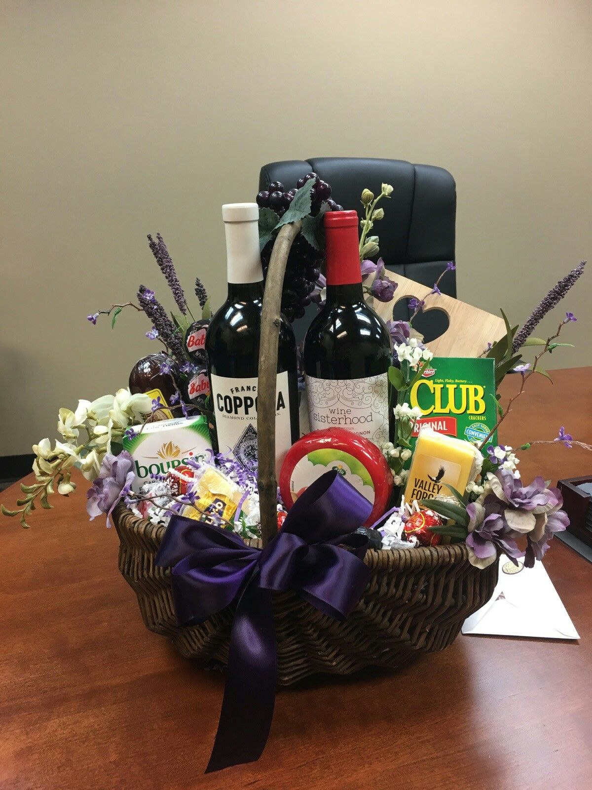 My wine and cheese gift basket Diy wine gift baskets