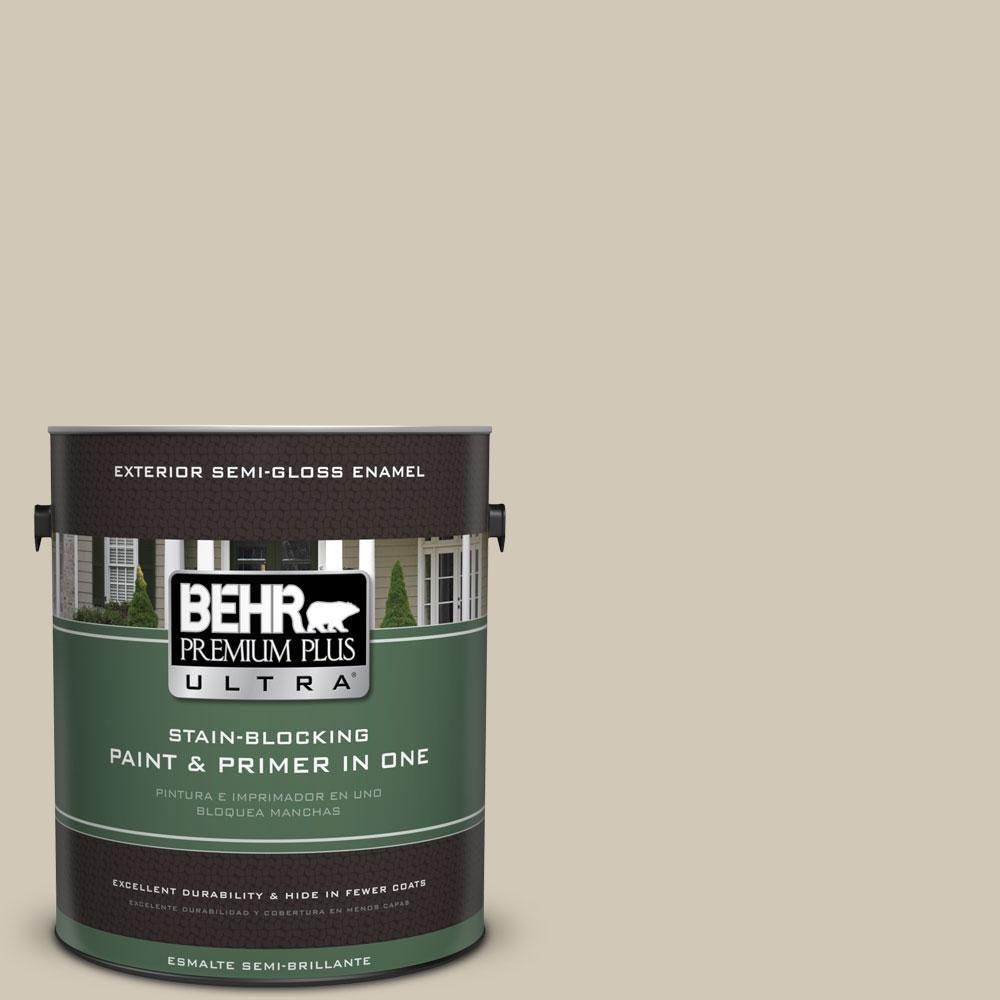 BEHR Premium Plus Ultra 1-gal. #750C-3 Sandstone Cliff Semi-Gloss Enamel Exterior Paint