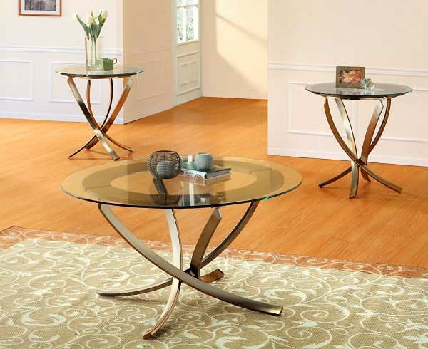 Glass Coffee Table Sets Clearance | Piece Cocktail Set With Glass Tops  Bronze Legs