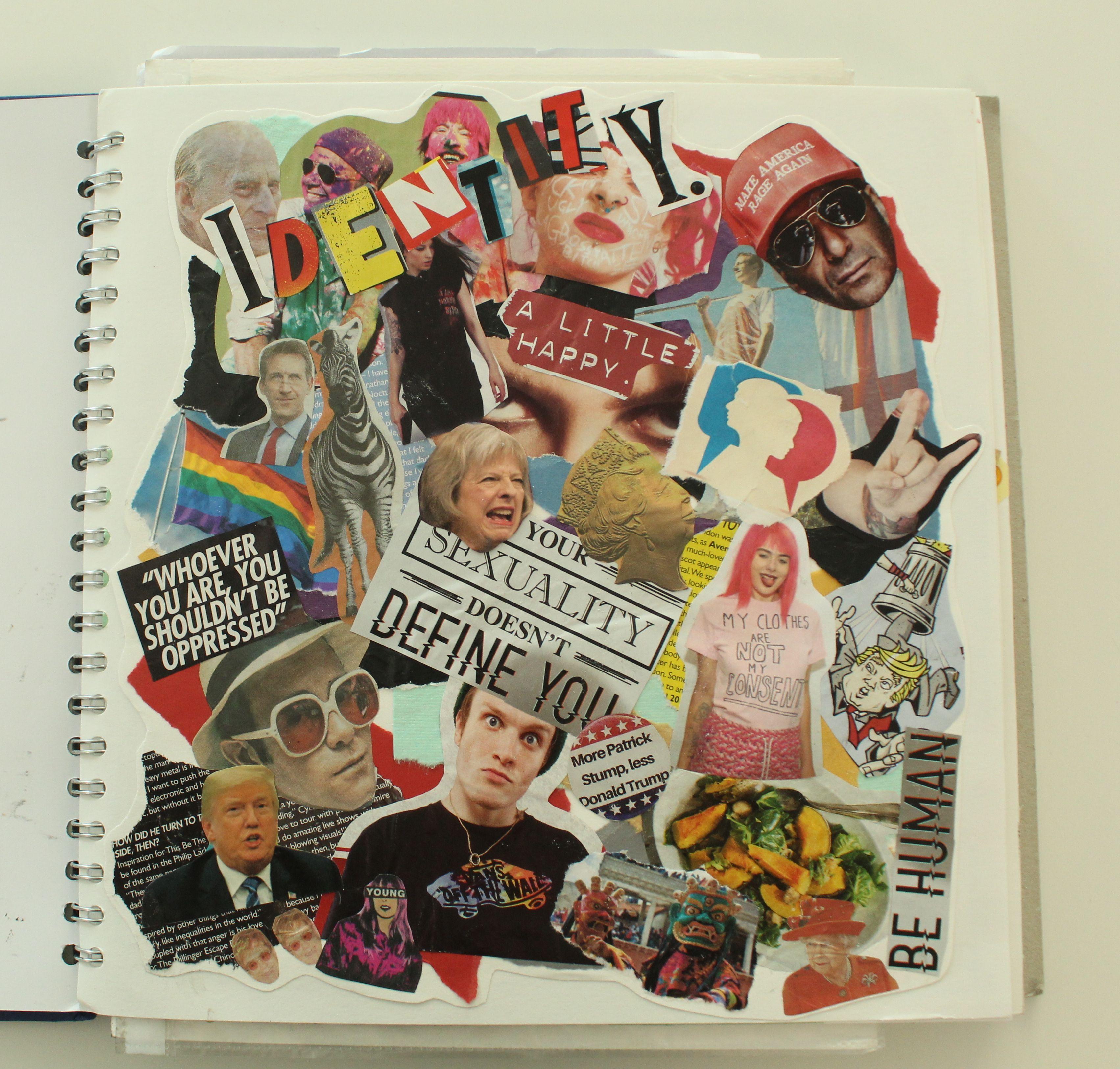 Identity Collage Page Yr12 Graphics Identity Artwork Identity Art Sketch Book