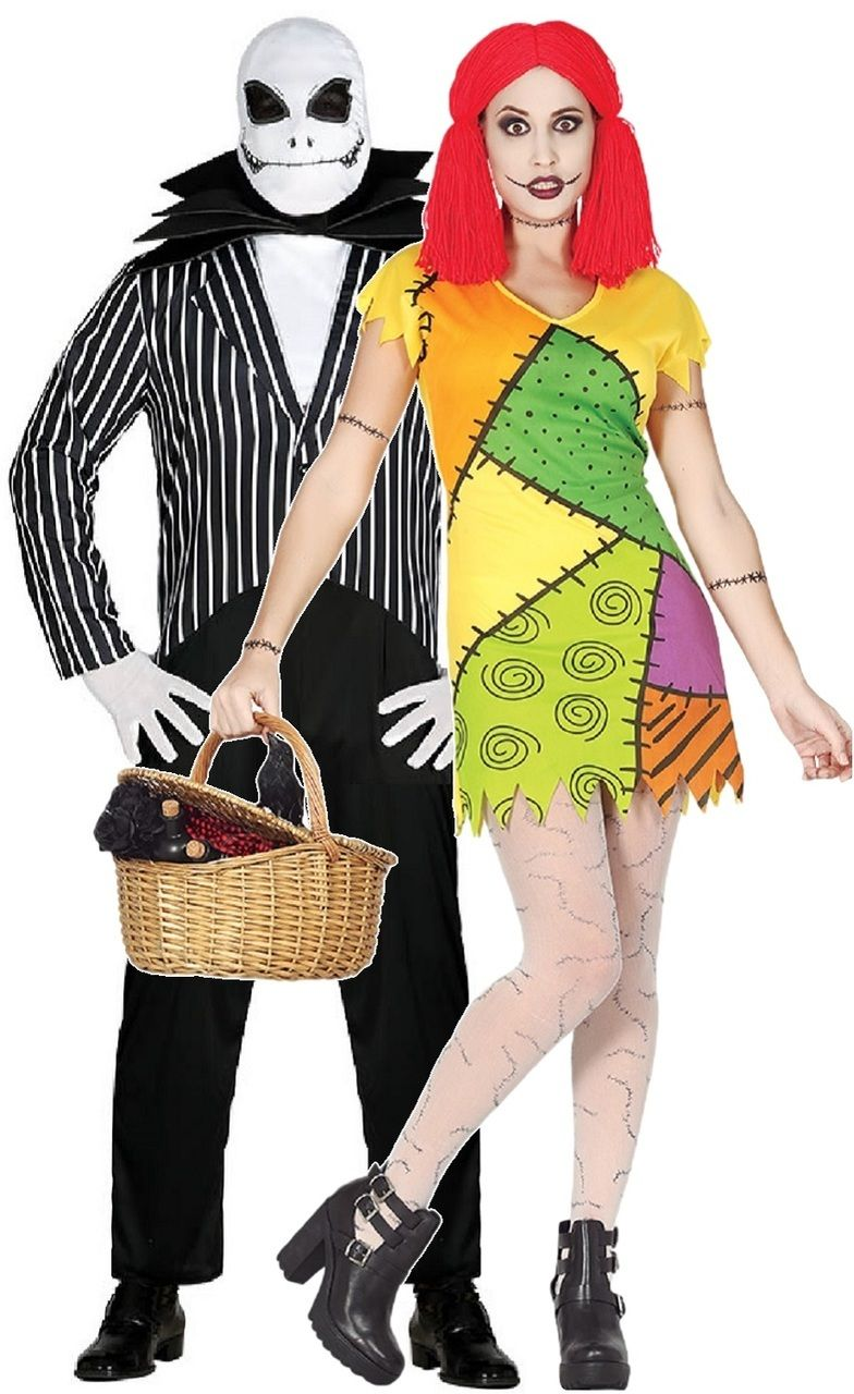 Mens and ladies Couples Sally and Jack Skellington fancy dress costumes. Perfect outfits for Halloween  sc 1 st  Pinterest & Couple Nightmare Lovers Fancy Dress Costume | Pinterest | Fancy ...