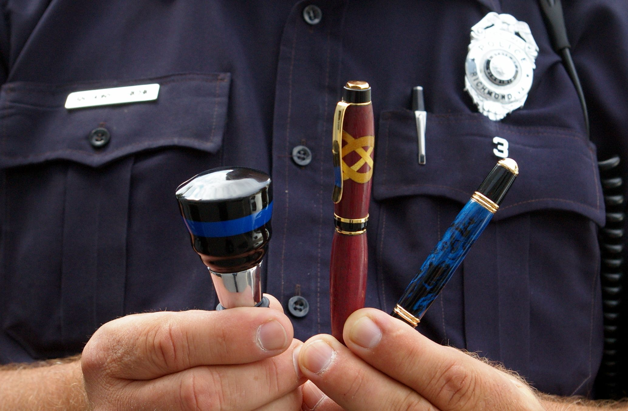 Officer Anthony Richio has been workworking for years as a hobby, but he recently challenged himself to make pens and wine bottle stoppers, among other things. Check out this link to see how he combined that passion with his day job as an RPD officer: