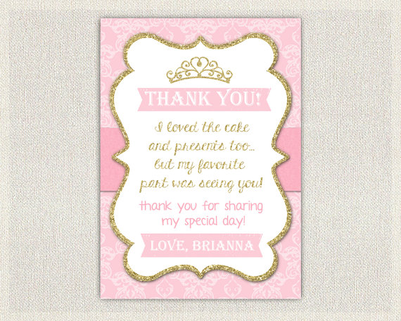 Princess Thank You Notes Princess Party Thank You Princess Thank You Card Princess Birthday Thank You Notes