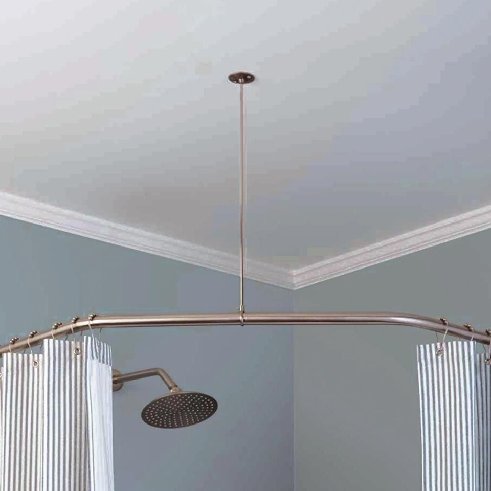 Rustproof Vertical Ceiling Support Bar For Shower Curtain Rods