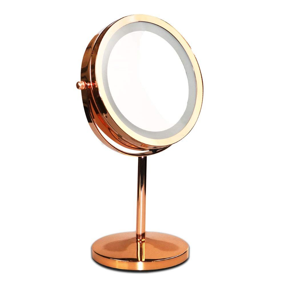 Makeup Vanity Mirror With Led Lights 360 Degree Two Sided Swivel