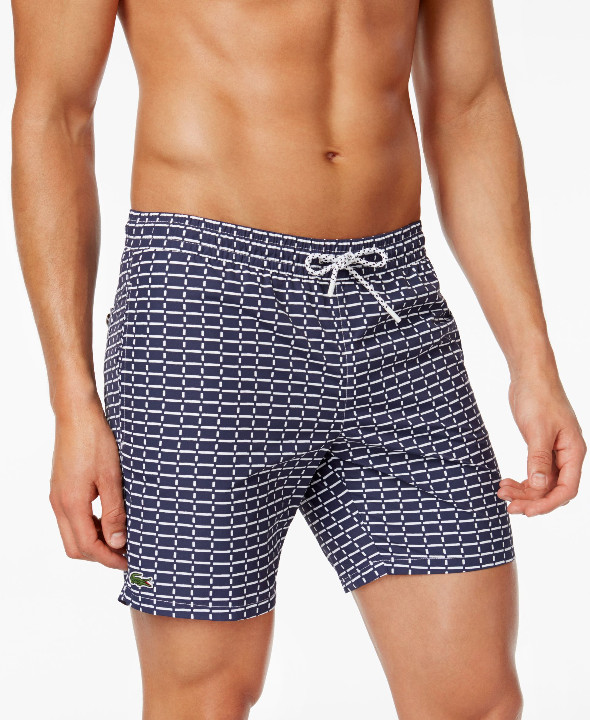 7d49d1c5efcc Lacoste Men s Drawstring Brick-Pattern Swim Trunks