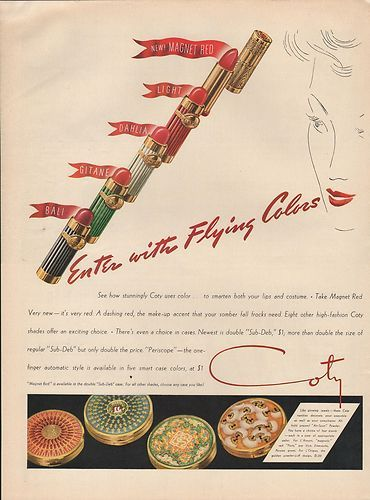 1939 Vintage Coty Enter with Flying Colors Lipstick Costume Print Ad | eBay
