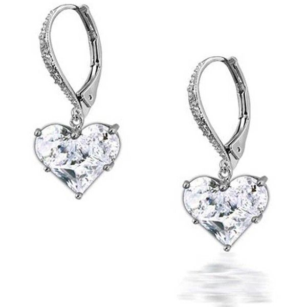 Invisible Heart Leverback Earrings Cz 925 Sterling Silver 30 Liked On Polyvore Featuring