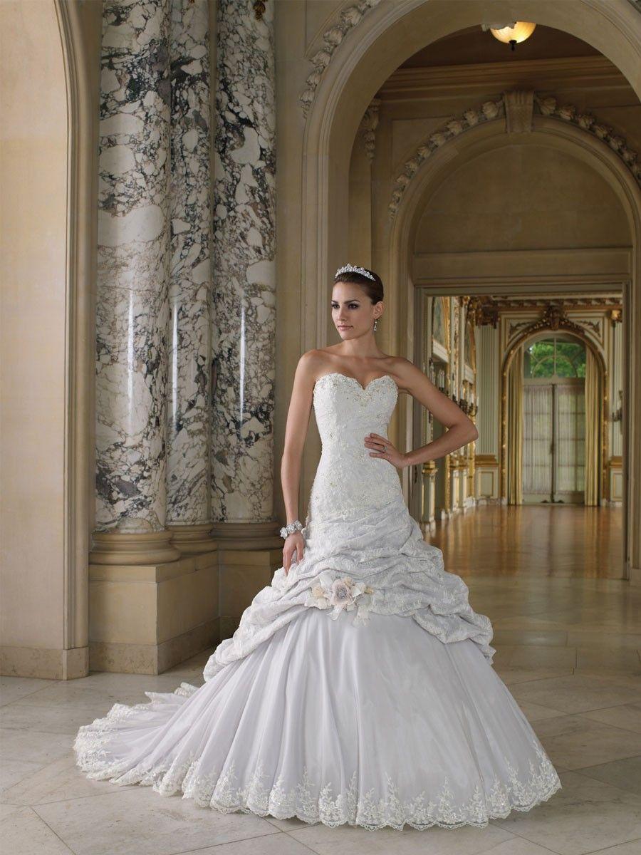 Taft Sweetheart formale Ball Brautkleid Hochzeitskleid mit Spitze ...