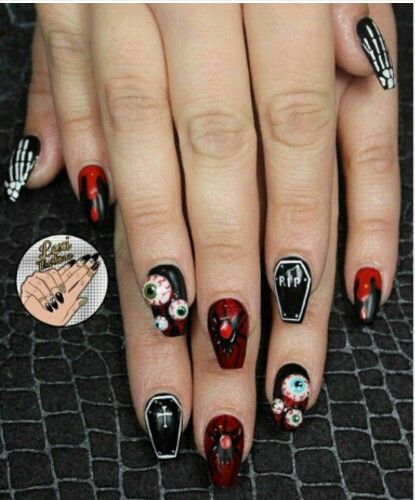 This Year S Halloween Nails For Sure Coffin Nails Halloween Acrylic Nails Halloween Nail Designs Coffin Nails Designs