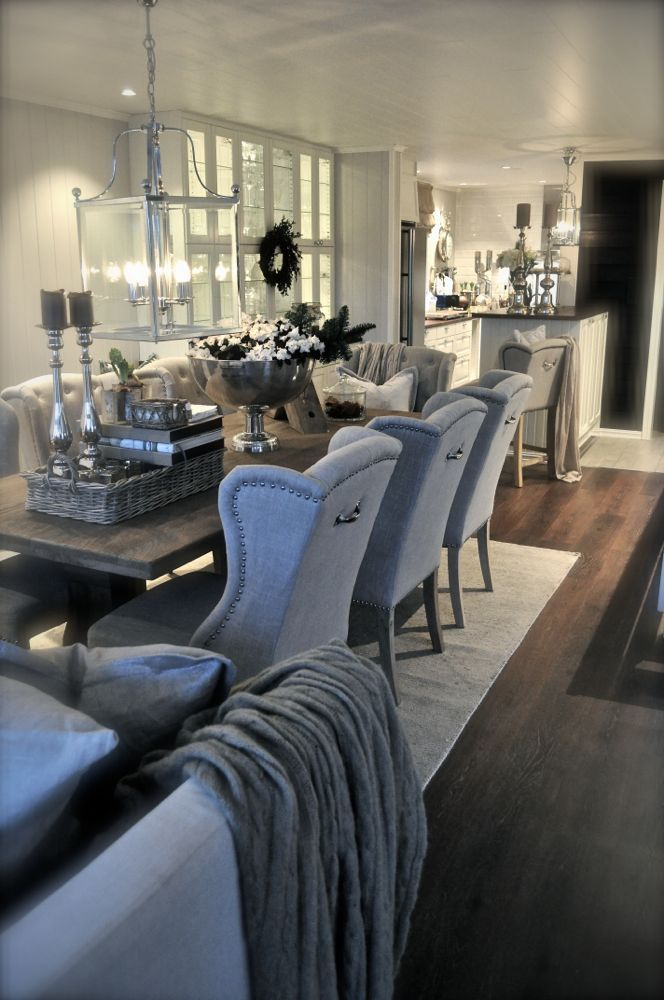 Glamorous living space. The open layout between the the dining room ...