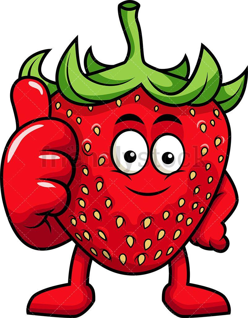 Strawberry Mascot Thumbs Up Cartoon Vector Clipart Friendlystock Cartoons Vector Vector Clipart Cartoon