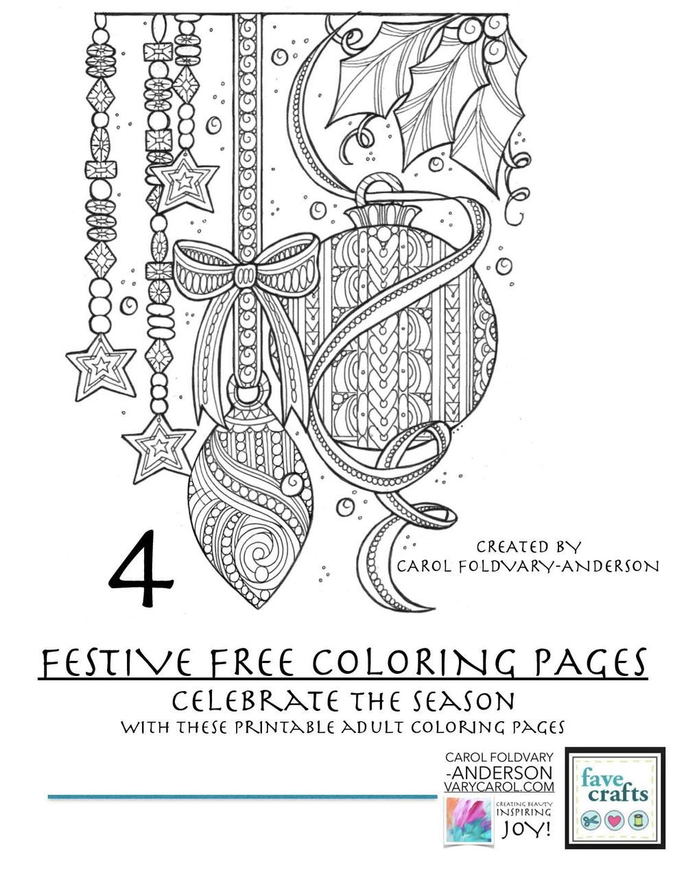 4 Festive Holiday Coloring Pages for Adults Adult