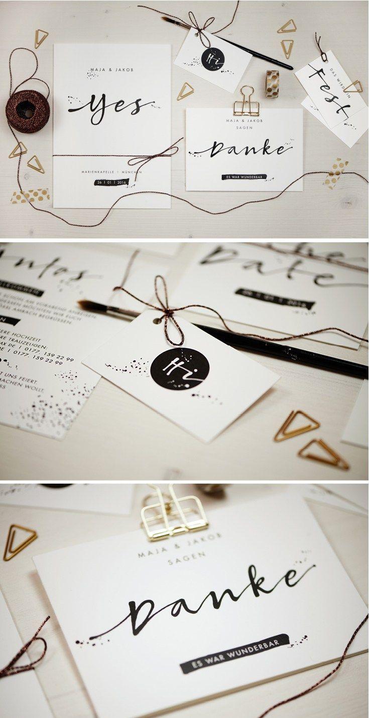 Hochzeitspapeterie im kalligrafie stil herzlichst