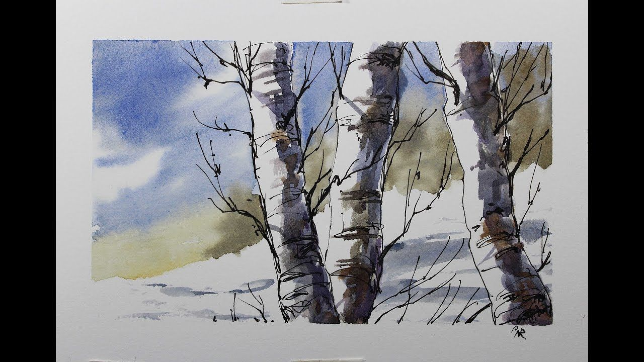 Draw And Paint Tree Trunks And Branches In A Winter Scene Full
