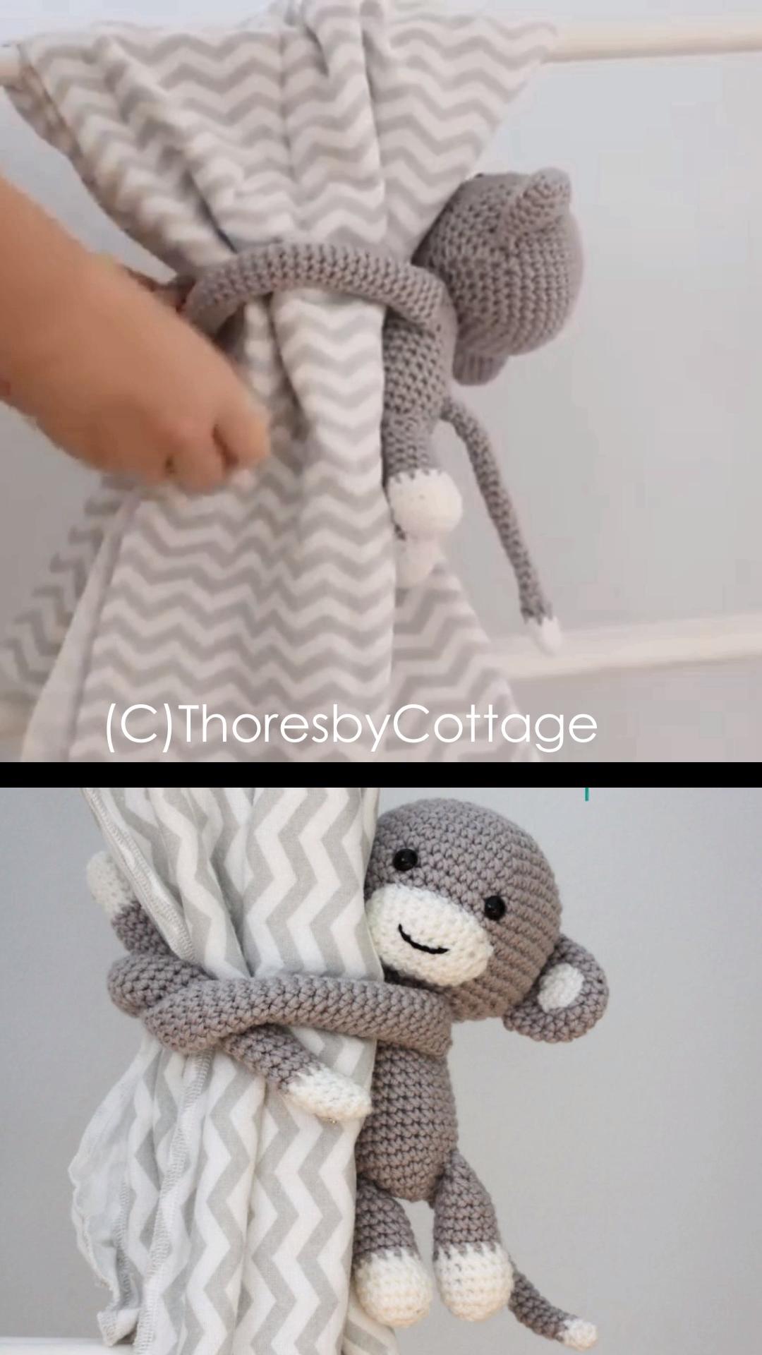 Crochet Monkey Curtain Tie Backs