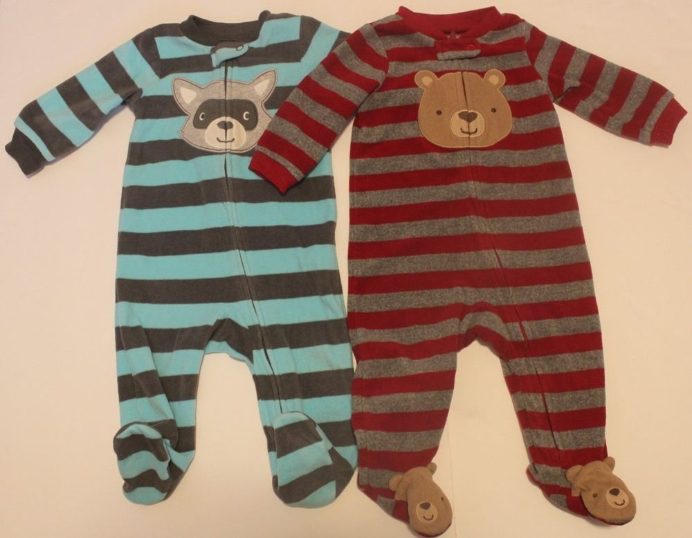 2af204ce5e91 Carters Baby Boy 6 Months Warm Pajamas Lot Of 2 Long Sleeve Footed ...