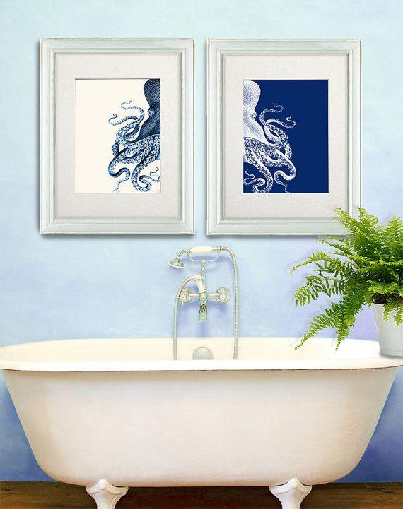bathroom decor 2 octopus prints navy blue cream nautical on bathroom wall decor id=45973