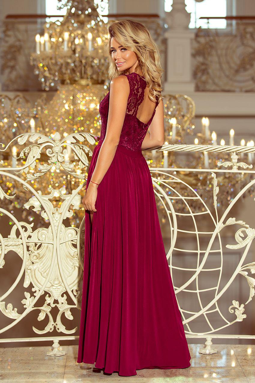 589717a034 Piękna bordowa maxi sukienka z koronkowym dekoltem. Polska marka numoco.  Beautiful burgundy maxi dress with lace neckline. Polish numoco brand.