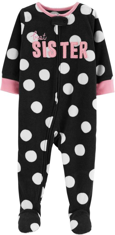 f349c1447 Carter's Toddler Girl Best Sister Polka-Dot Microfleece Footed Pajamas