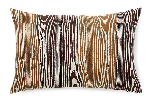 Woodgrain 14x20 Linen Pillow, Chocolate on OneKingsLane.com