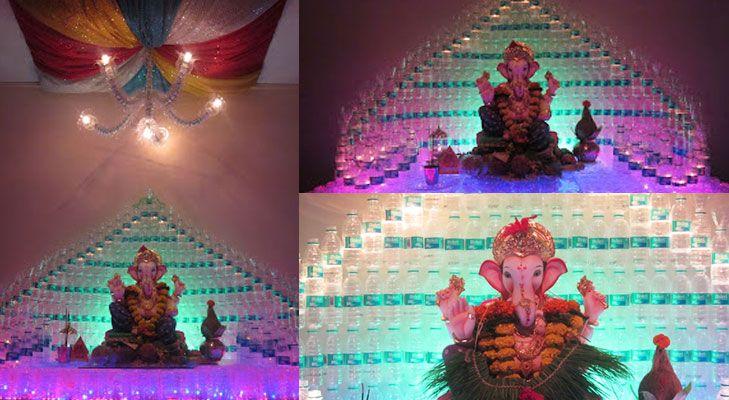 ganpati decoration ideas for home plastic bottles glass bottle