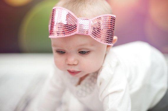 Baby Headband, Pink Baby Headband, Pink Bow Headband, Bow Headband, Pink Sequin Bow,  Pink Headband, Sequin Headband on Etsy, $8.75