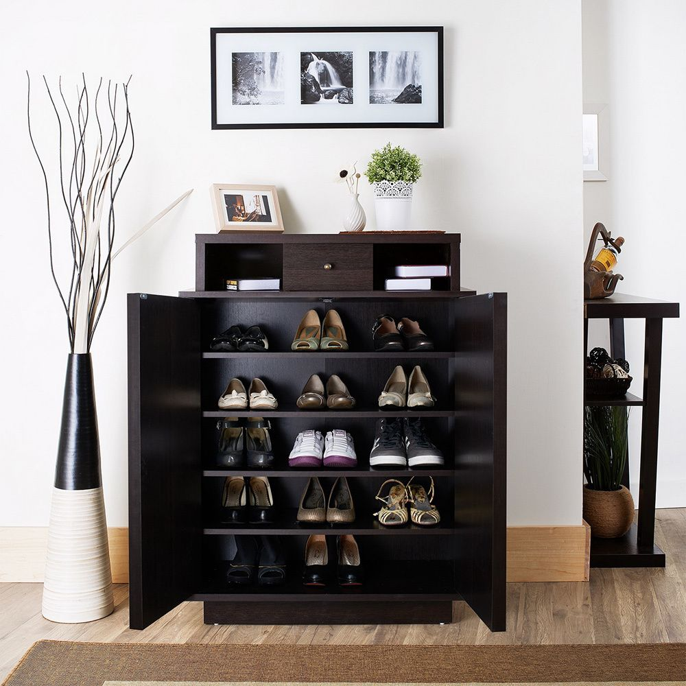 Furniture Of America Arthurie Espresso Enclosed 5 Shelf Shoe Cabinet Ping