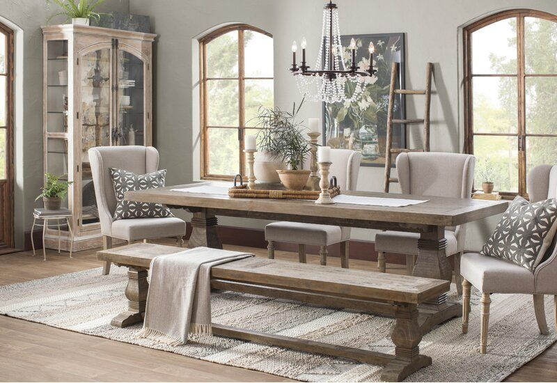 Gertrude Solid Wood Dining Table Farmhouse Dining Room Dining Room Table Centerpieces Rustic Dining Room