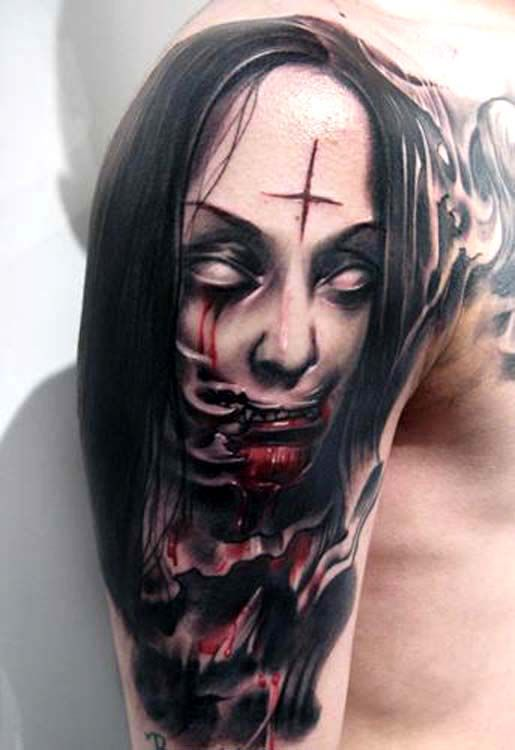 Scary Eyes Colorful Horror Girl Face Portrait Tattoo With Images
