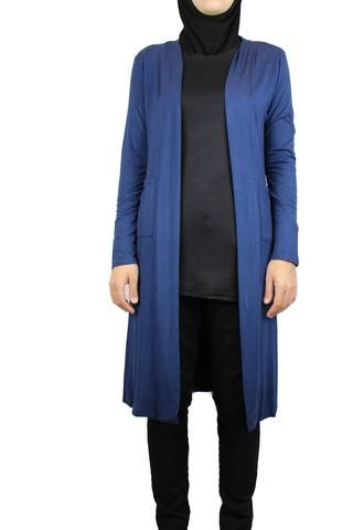 Maxi Open Front Cardigan with Pockets -Navy Blue | Tops and ...