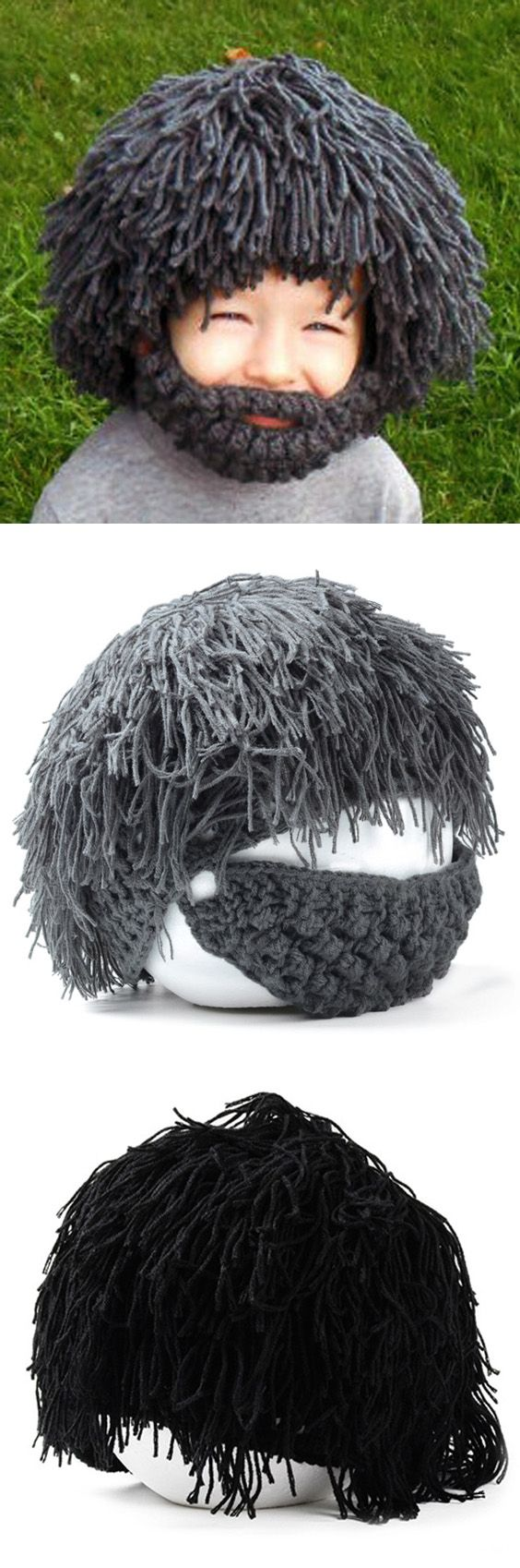 Woolen Yarn Imitated Wig Knitted Beard Face Hat For Men and Women ...