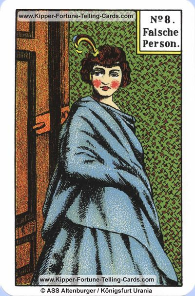 8/36  The False Person - The Original Kipper Cards by Mrs. Kipper, 1880.