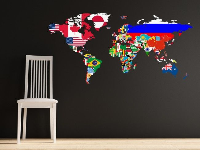 flag world map decal