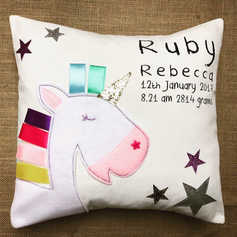 personalised unicorn cushion to announce birth 1st birthday gift